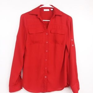 New York and Co Red Tab Sleeve Button Up Top